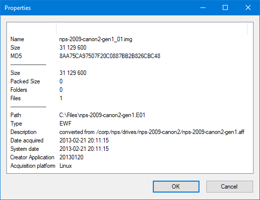 Open E01 file in 7-Zip