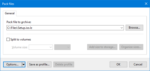 Упаковка файла в lzip формат в Windows Explorer