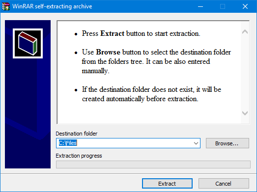 How to create RAR self-extracting archive